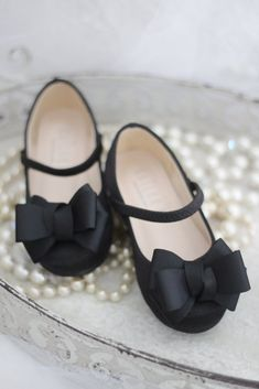 Black Satin Maryjane Flats with Grosgrain Bow, Flower girl shoes – Kailee P. Little Girls Dress Shoes, Flower Girl Shoes, Black Dress Shoes, Bow Shoes, Girls Shoes, Bow Flats, Toddler Girl Shoes, Baby Girl Shoes, Toddler Sandals