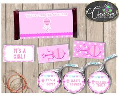 Baby shower Girl Pink Rattle HERSHEY mini standard and kiss decoration wrappers and labels printable, Jpg Pdf, instant download - bsr01 #babyshowergames #babyshower