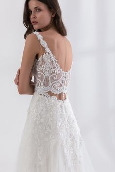 Off white A line dress made from a Chantilly beaded lace and a tulle skirt White A Line Dress, Bridal Wedding Dresses, Off Colour, Beaded Lace, Dress Making, Off White, Tulle, Couture, Skirts