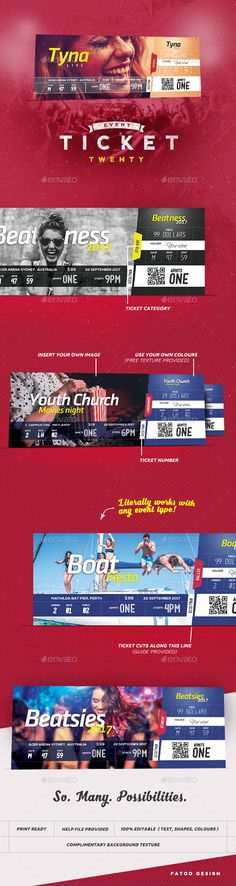 Event Tickets PSD Template • Only available here ➝ http://graphicriver.net/item/event-tickets-template-20/16730364?ref=pxcr