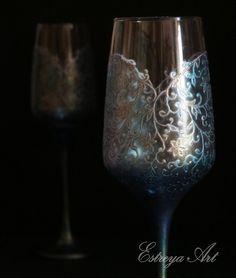 Wedding glasses, toasting flutes, hand painted, victorian wedding, blue wedding, wedding personalized gift, set of 2