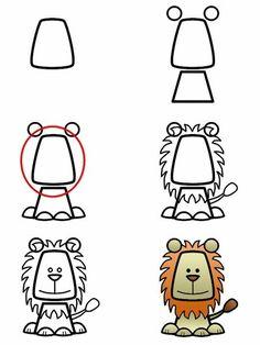 Simple lion drawing · gambar art activities, cartoon animals to draw, cartoon drawing for kids, draw animals Cartoon Drawing For Kids, Cartoon Lion, Cartoon Drawings Of Animals, Draw Animals, Drawing Cartoons, Funny Animals, Art Activities For Kids, Art For Kids, Lions For Kids