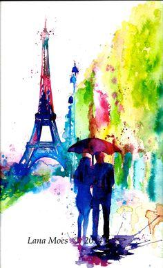Paris Love Romance Travel Original Watercolor Painting - Series of Wanderlust - Paris Red Umbrella