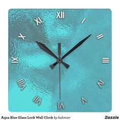 Sold Aqua Blue Glass Look Wall Clock