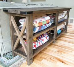 "Ana White | Build a Rustic X Console | Free and Easy DIY Project and Furniture Plans  Will fit 4: 24"" x 16"" laundry baskets and function as tv console in bedroom."
