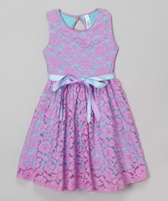 Look at this Mulberribush Lavender Lace Belted Jackie Dress - Girls on #zulily today!