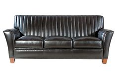 Eden Sofa, Black on OneKingsLane.com    Reminds me of my dads old car.  Love this for a man cave.