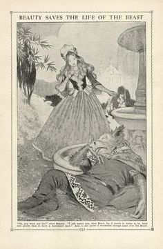 Beauty and the Beast, a 1919 Illustration found in The Book of Knowledge from an Ephemera Grab Bag on Fairy Tales.