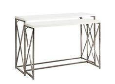 With its chic glossy white tops, this 2 piece console table set gives an exceptional look to any room. Its original  criss-cross chromed metal base provides sturdy support as well as a contemporary look. Use this multi- functional set as lamp tables, picture displays, or simply accent pieces, in your living room, hallway or even bedroom!