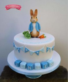 Peter Rabbit Baptism Cake - Cake by The Custom Cakery Peter Rabbit Party, Peter Rabbit Cake, Peter Rabbit Birthday, Beatrix Potter Cake, Boys 1st Birthday Cake, 1st Birthday Party Ideas For Boys, Cupcakes, Occasion Cakes, Savoury Cake