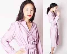 Lavender Pastel Lilac 70s Classic Shirt Dress / 1970s by aiseirigh, $56.00