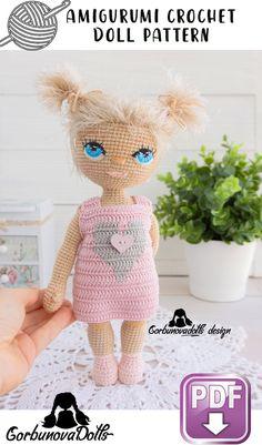 Handmade Dolls Patterns, Diy Crochet Patterns, Crochet Doll Pattern, Doll Patterns, Crochet Projects, Diy Projects, Crochet Amigurumi, Amigurumi Patterns, Amigurumi Doll
