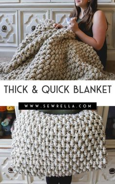 Crochet Mini Basketweave Blanket - Crochet Mini Basketweave Blanket This beginner style blanket works up pretty quick with thick, chunky yarn and easy stitches! Click this pin to find even more crochet blanket patterns. Easy Crochet Blanket, Crochet For Beginners Blanket, Chunky Blanket, Knitted Blankets, Crochet Yarn, Free Crochet, Crochet Ideas, Fur Blanket, Quick Crochet