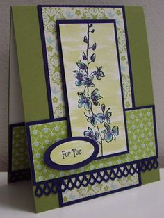 Stamping with Loll:  Blue Delphiniums - marker layering, wash (Mar. 2012)