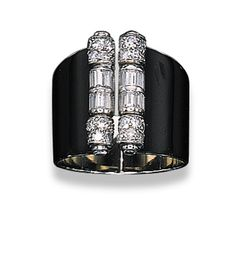 AN ART DECO LACQUER AND DIAMOND RING, BY CARTIER