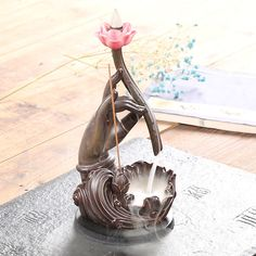 Chinese Traditional Ceramic Purple Clay Palm Mountain Lotus Guanyin Buddha Hand Backflow Incense Burner Incense Censer Base New