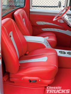 1956 ford f100 pickup truck upholstered leather interior red silver grey console door panels