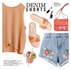 """""""Summer Staple: Denim Cutoffs"""" by punnky ❤ liked on Polyvore featuring House of Holland, Manolo Blahnik, Hermès and PATH"""