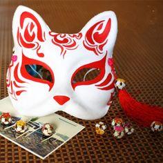 Hand Painted Half Face Japanese Fox Mask Kitsune Masquerade ...