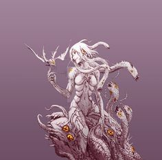 Branch of Life by on DeviantArt Fantasy Demon, Demon Art, Fantasy Races, Fantasy Monster, Dark Fantasy Art, Monster Concept Art, Alien Concept Art, Creature Concept Art, Monster Art
