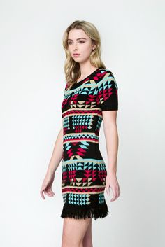 Aztec Tassel Fringe Sweater Dress