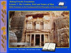 The Creation, Trial & Nature of Man - Class 3 - Principles First Principle, Trials, Bible, Videos, Nature, Channel, Biblia, Naturaleza, Nature Illustration