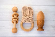 Baby Toys , Wooden Baby Toys , Montessori Baby Toys , Baby Gift Set , Baby Teething Toy , Wooden Teether , Wooden Rattle , Teething Ring