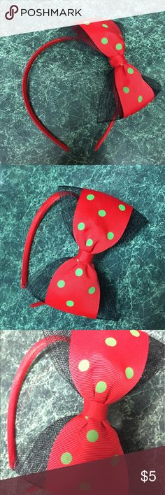 Red/Black/Green Polka Dot HairBow Came in the wrong color, never worn it. Accessories Hair Accessories