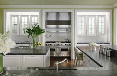 Kendall Wilkinson Design: Pacific Heights Manor. San Francisco Interior Design/Decor. Traditional Kitchen with marble countertops and stainless steal appliances.