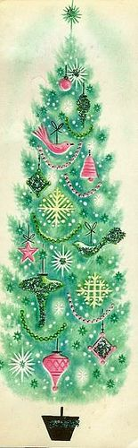 vintage Christmas card - Green tree
