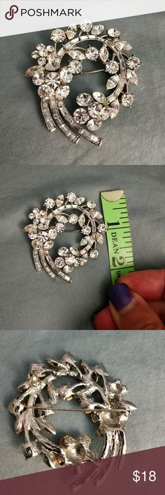 Beautiful Rhinestone Brooch Pin Missing two stones but you cannot tell because of the design. Vintage Jewelry Brooches