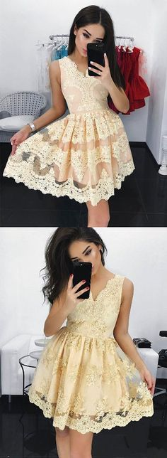 Cute A line lace short prom dress, homecoming dress – trendty