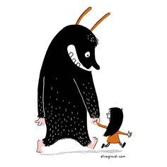 My little inner kid and her giant hairy friend. #monster #illustration #art #cute
