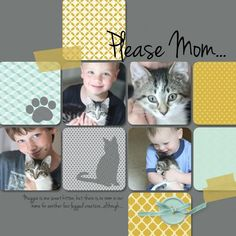 Cat scrapbook page - seems corny but my daughter LOVES our cat this much! Love the layout, theme of page not so much. Dog Scrapbook, Album Scrapbook, Disney Scrapbook, Scrapbook Sketches, Scrapbook Page Layouts, Scrapbook Paper Crafts, Scrapbook Background, Grid Layouts, Scrapbook Designs