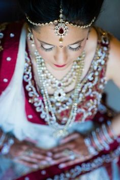 Red Lingha and indian bridal jewelry from South Asian Indian wedding at Castle Hill Cider by Greg Gibson Photograph