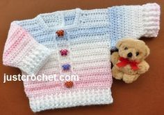 Free baby crochet pattern for newborn sweater http://www.justcrochet.com/boy-girl-sweater-usa.html #justcrochet #patternsforcrochet