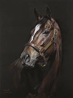 Horse Drawings, Animal Drawings, Zenyatta Horse, Animal Paintings, Horse Paintings, Pastel Paintings, Unicorn Tapestries, Brown Horse, Portrait Art