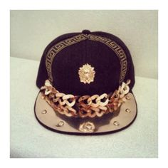 Dope Custom Versace Snapback ($30) ❤ liked on Polyvore featuring accessories, hats, versace hat, brimmed hat, gold snapback, colorful snapback hats and band hats