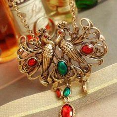 $2.54 Retro Ethnic Style Double Phoenix Shape Pendant Gemstone Embellished Sweater Chain