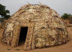 Fulani Dwelling (Domed House), from Nigeria.   These people heard animals and are generally nomads. Their homes are light weight so they can pick them up and move on when they need to.