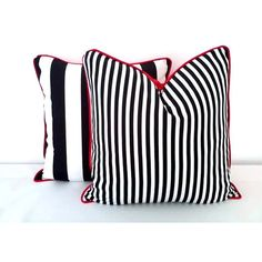 """Black and White Striped Throw Pillow Cover 18"""" by 18 Narrow Black and... (2.190 RUB) ❤ liked on Polyvore featuring home, home decor and throw pillows"""