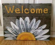 A personal favorite from my Etsy shop https://www.etsy.com/listing/233548906/reclaimed-wood-welcome-sign-with-white