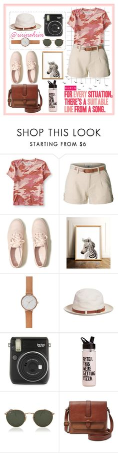 """camo girly"" by rindularas on Polyvore featuring Aéropostale, LE3NO, Hollister Co., Skagen, Fuji, ban.do, Ray-Ban, FOSSIL, safari and ZooOutfit"
