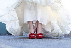 Love the red shoes! | Our Wedding Day  Photo By Jaime Davis Photography