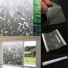 45 x 100 cm amovible Recyclable porte en verre fenêtre Film 3D fleur autocollant PVC de verre de l'électricité statique Film Wall Sticker Home Decor(China (Mainland))