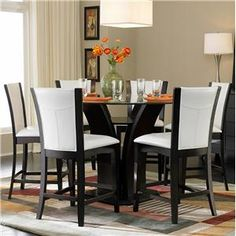 5 Piece Counter Height Round Glass Top Dining Set By Home Elegance