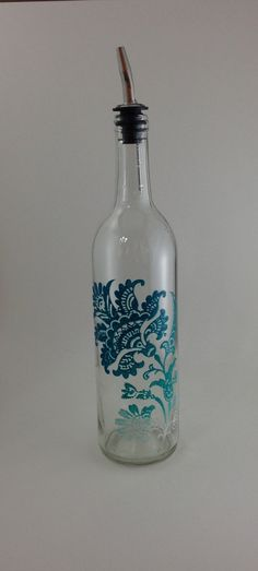Up Cycled Wine Bottle for Olive Oil with Teal Blue Flower Design