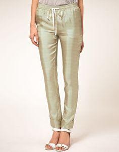 Virginie Castaway Twill Silk Pants In Circle Print