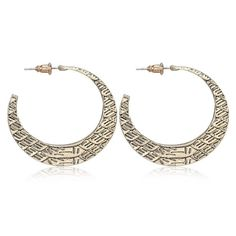 E11 Gold Plated Crescent Hoop Dangle Stud Earrings in Gift Pouch
