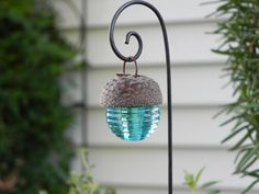 Fairy Garden Acorn Cap Lantern   aqua by TheLittleHedgerow on Etsy, $5.95